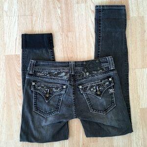 Miss Me Gray / Black Bling Skinny Jeans 28x31